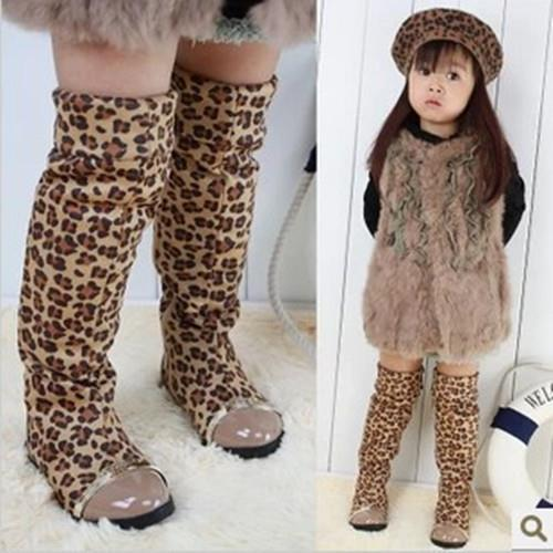 2016 New Style Kids Children winter boots Girls shoes Leopard Over-the-Knee Boots Princess cotton Shoes - Hangzhou Dolda Tech. Co., Ltd. store
