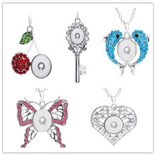 ФОТО mix style crystal heart cherry dolphin 18mm ginger snap charms necklace jewelry interchangeable pendants with necklace chain