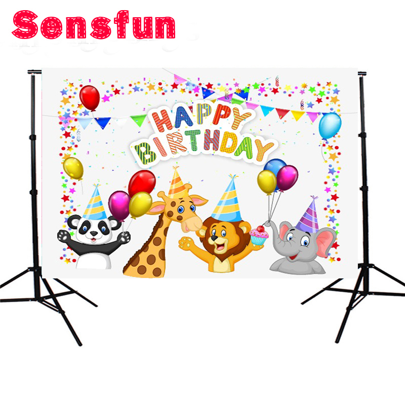 Sensfun Safari Party Photo Backdrops Flags Cartoon Vinyl Cloth Photography Backdrops for Photo Studio 7x5ft 7x5ft vinyl cloth cartoon photocall my