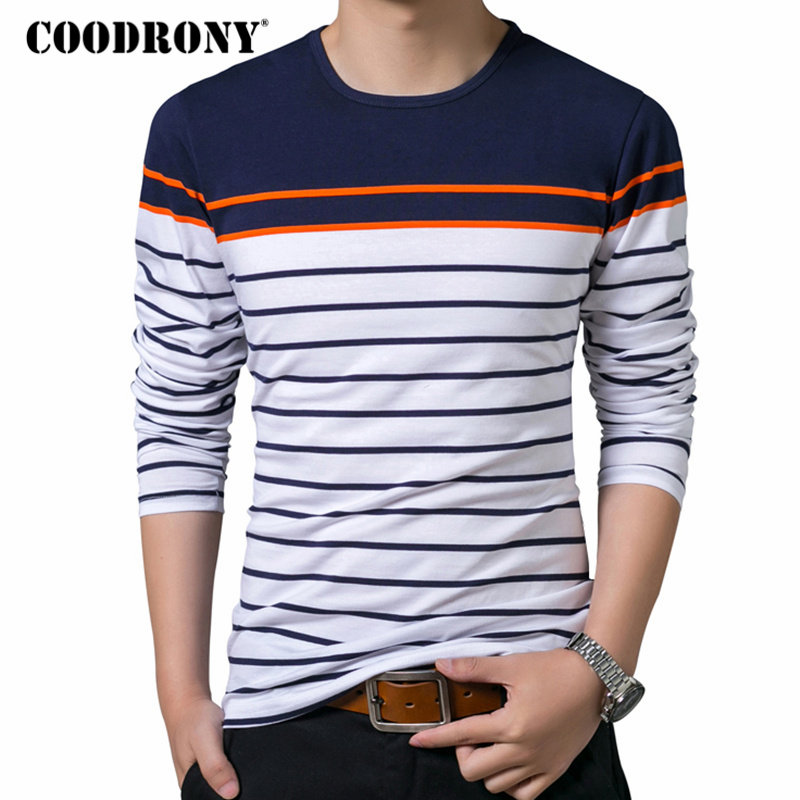 COODRONY   T     Shirt   Men Brand Clothes 2018 Autumn New Long Sleeve   T  -  Shirt   Men Cotton Tee   Shirt   Homme Casual Striped O-Neck Top 8613
