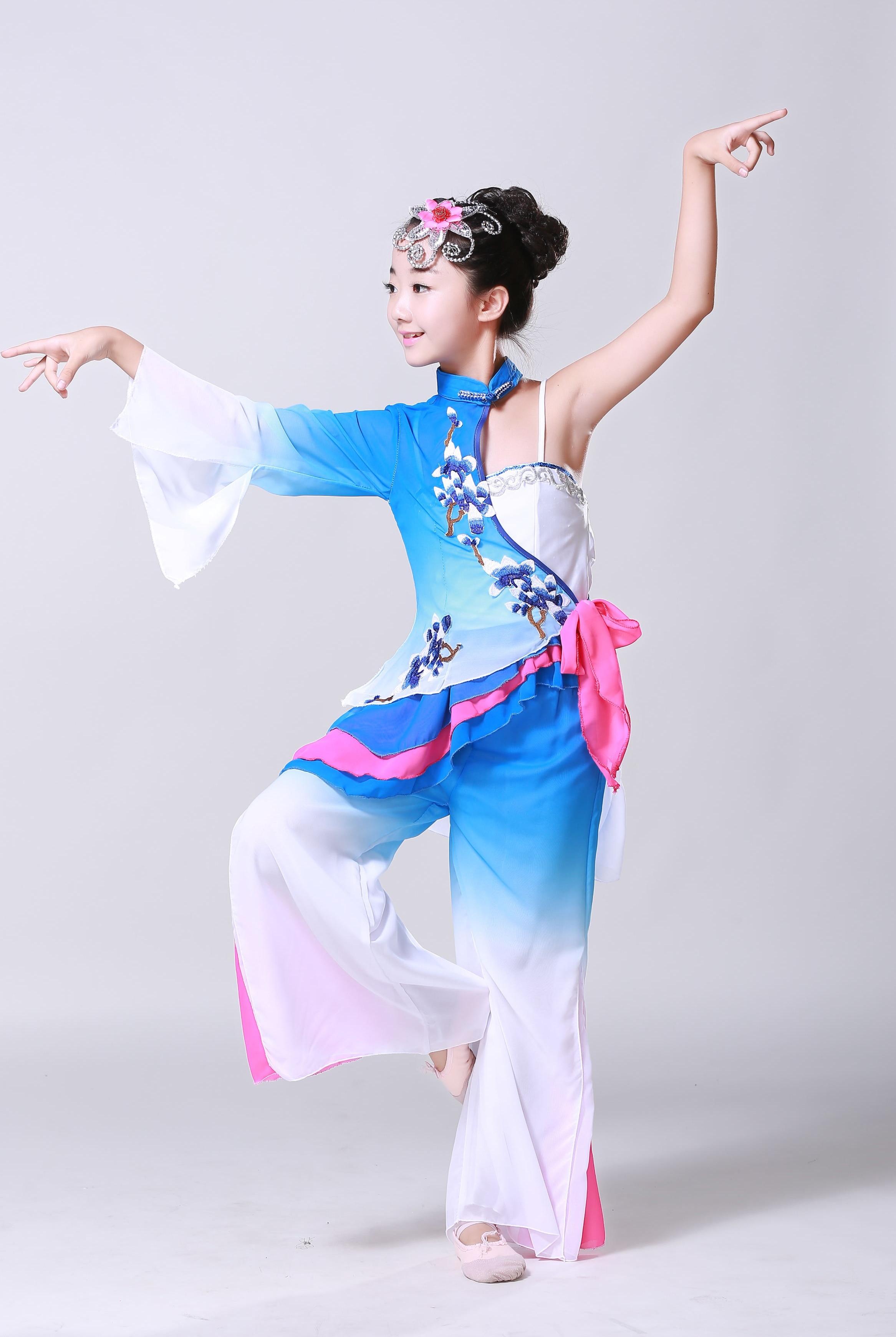 """Kinijos liaudiškų šokių kostiumai vaikams - klasikiniai klasikinių gerbėjų šokių kostiumai """"Yangko"""" šokiai vaikams """"Umbrella Dance"""" drabužiai 89"""