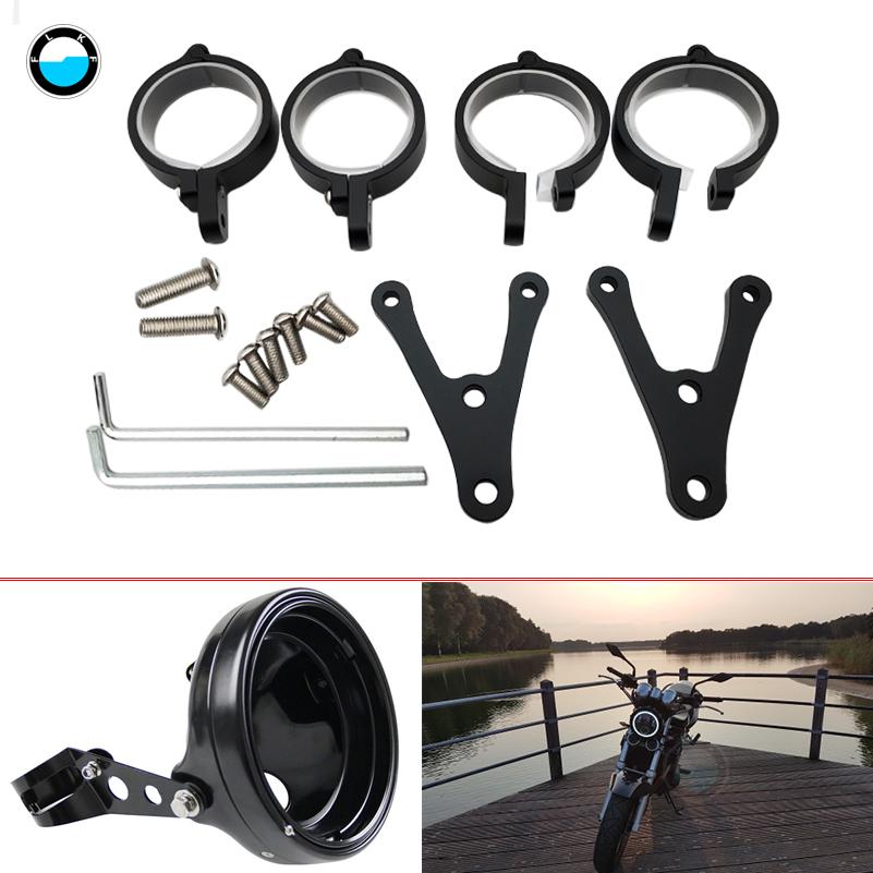 1Set Black Universal Motorcycle  7 inch Headlight Housing Mount Brackets Headlamp Holder Adjustable On Both Sides Of The Bracket