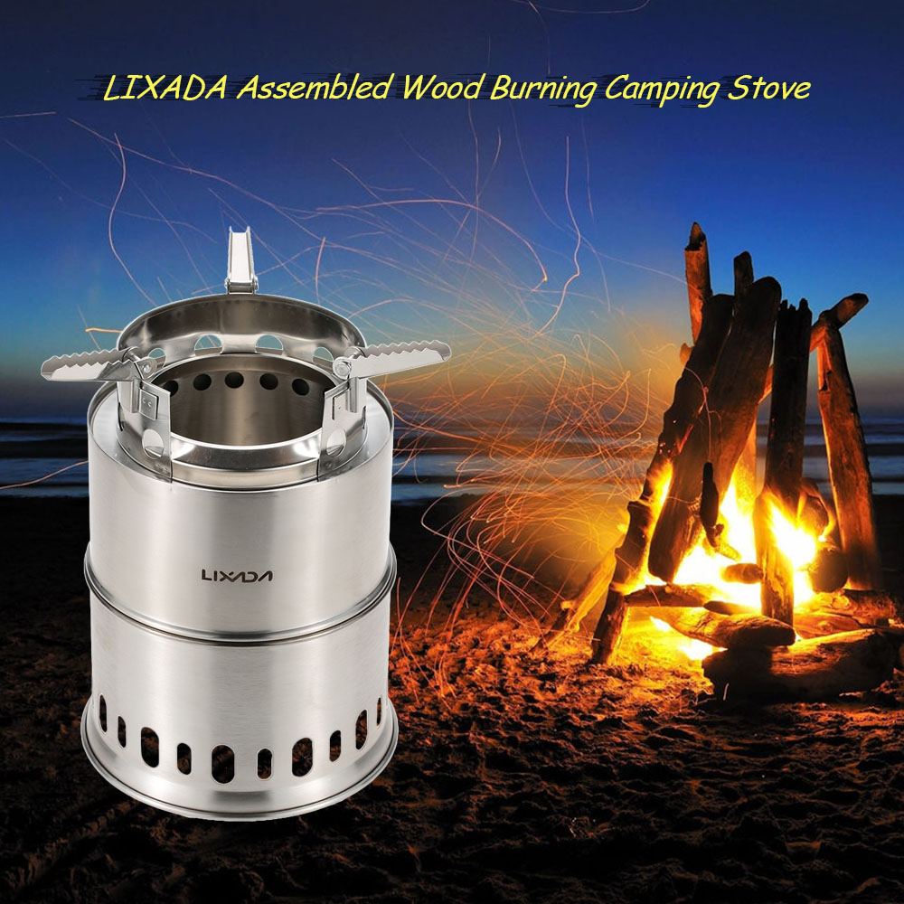 Lixada Stainless Steel Camping Stove Outdoor Wood Stove Fire woods Furnace Lightweight BBQ Picnic Big Size