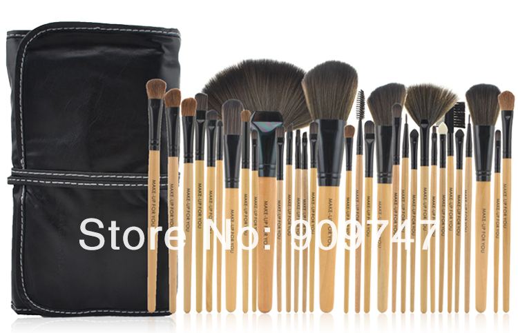 32pcs 32 pcs Cosmetic Facial Make up Brush Kit Makeup Brushes Tools Set + Black Leather Case ,Free Shipping hot sale 2016 soft beauty woolen 24 pcs cosmetic kit makeup brush set tools make up make up brush with case drop shipping 31