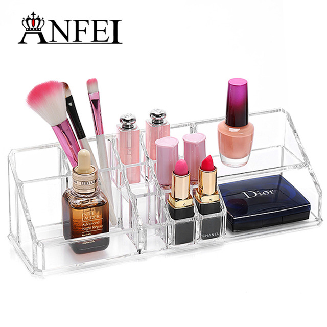 ANFEI Acrylic Nail Polish Holder Box Lipstick Organizer Case Jewelry