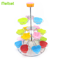 3 Layers Cupcake Stand Tree Shape Cup Cake Stands for Dessert Muffin Cake Stand Display 18 Cups Holder for Bakeware