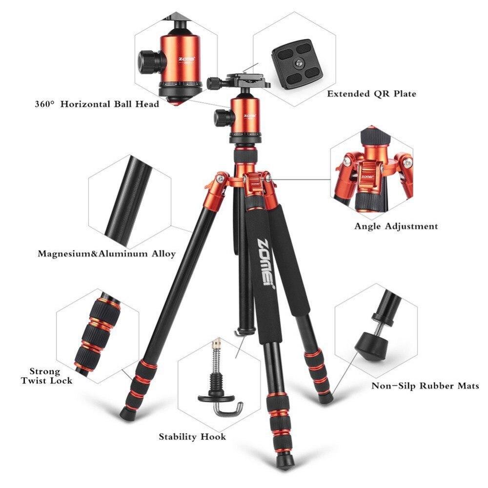 Zomei Z818 Heavy Duty Professional Portable Magnesium Aluminium Travel Tripod Stand Monopod for Digital SLR DSLR Camera Tripod