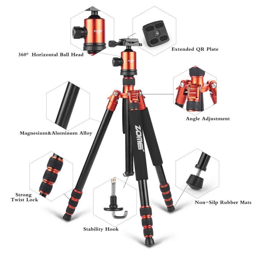 Zomei Z818 support de trépied de voyage professionnel en Aluminium magnésium Portable pour trépied d'appareil photo reflex numérique DSLR