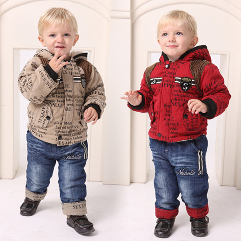 ФОТО Anlencool Free shipping  new winter coat suit classic alphabet baby clothing boy's Cotton clothing set boy's winter clothes