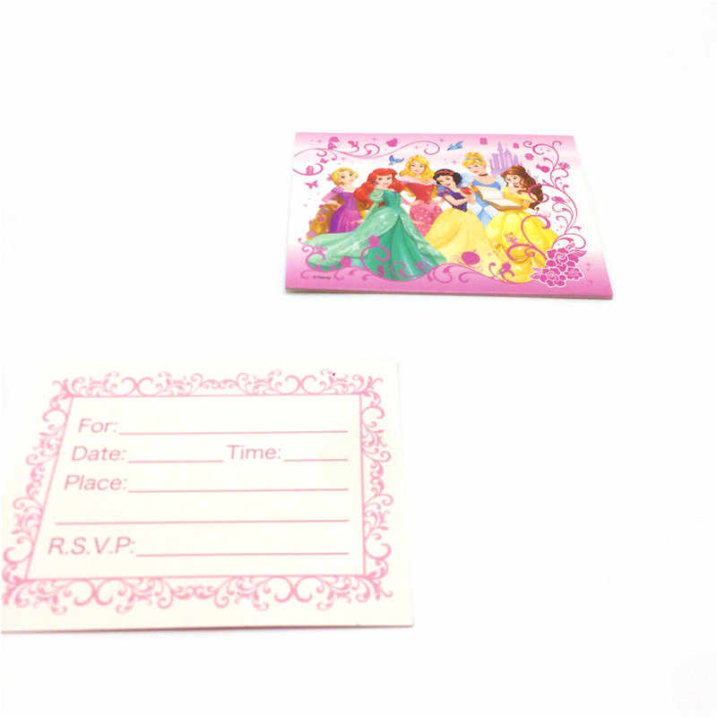 6pcs Disney Six Princess Theme Wedding Mini Greeting Card For Birthday Party Thank You