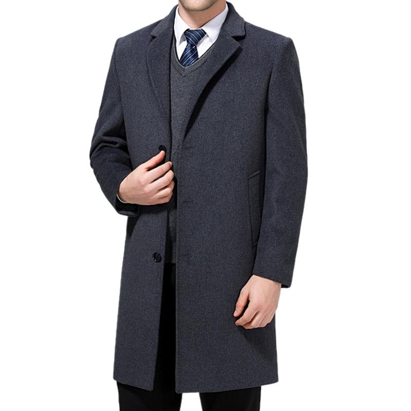 Для мужчин Бизнес шерсть длинное пальто осень-зима мужской Повседневное высокое качество Slim Fit теплая ветровка парка верхняя одежда Тренч к...