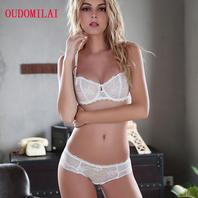 c312086555 Brand Sexy Bra Set High Quality Underwear Sets For Women Lace Transparent  Bra Panty Unlined Ultra Thin Push Up Female Lingerie