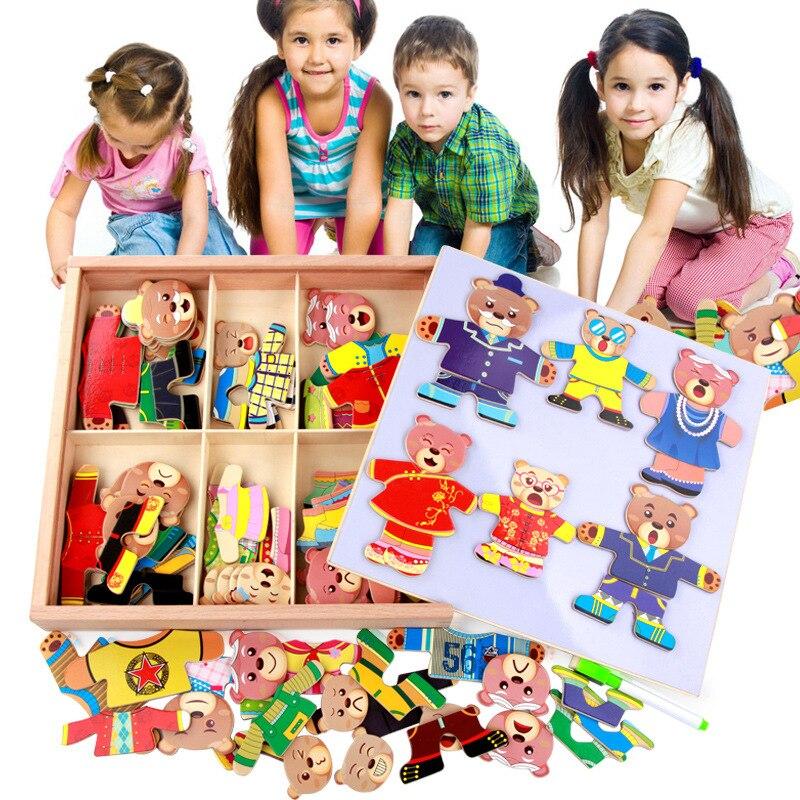Six ours changent de vêtements et portent des jouets en bois en trois dimensions Puzzle jouets pour enfants
