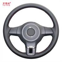 Yuji Hong Genuine Leather Car Steering Wheel Cover Case for Volkswagen VW Golf 6 Santana Jetta Polo Bora Touran Magotan Cover