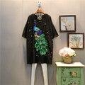 [XITAO] primavera 2017 nova europa moda feminina grandes estaleiros lantejoulas peacock padrão rebites manga curta reta solto dress abb025