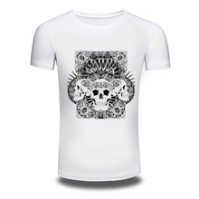 DY 199 New Shirts O Neck Skull Printed Pop T Shirt Tops Cotton White Fashion Large