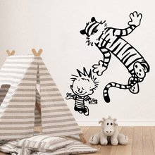 Diy calvin and hobbes dancing Wall Sticker Vinyl Waterproof Art Decal For Kids Rooms Home Decoration Mural