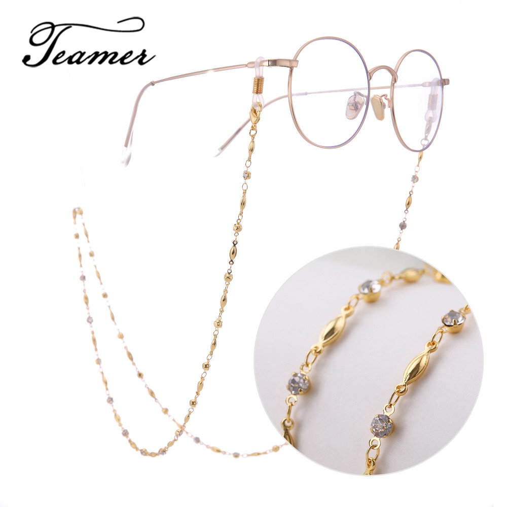 Teamer 78cm Exquisite Fashion Glasses Chain  CZ Crystal Sunglasses Lanyard Strap Necklace Eyeglass Cord Accessories