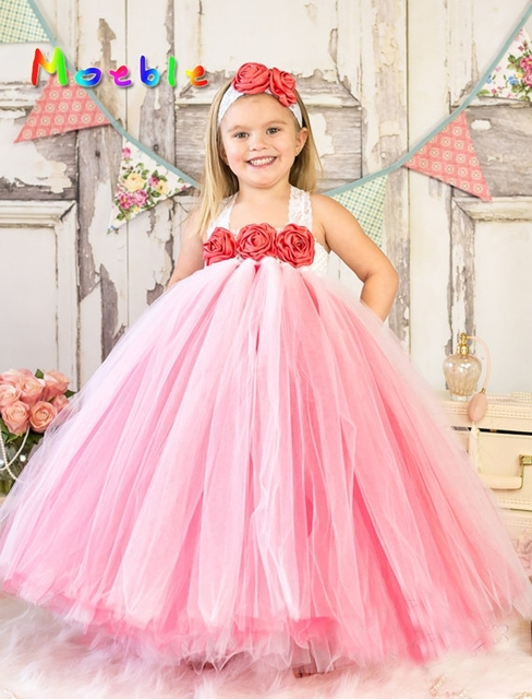 eb2420630 Red Rose Flowers Girls Valentine's Day Tutu Dress Little Girls Holiday Gifts  Girl Fluffy Tulle Tutu Dress Evening Ball Gown