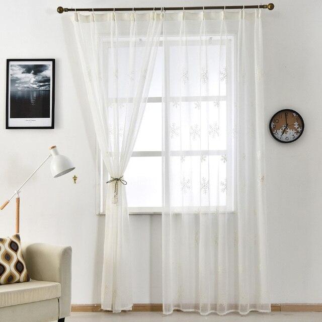 € 17.56  Cortina de tul ventana de invierno moderno cortinas cocina chica  diseño dormitorio ventana Bordado tratamiento de aguas blancas en ...