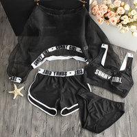 2017 New Letter Sporty Bikini Set Padded Swimsuit Women High Waist Long Sleeve Swimwear Black Pink Mesh Low Waist Bathing Suit