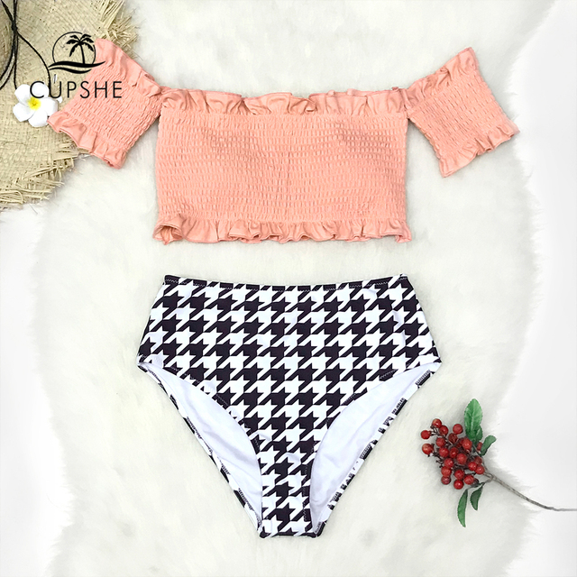 f5a1056bf09d2 CUPSHE Pink Smocked Off Shoulder Bikini Sets Women High Waist Check Two  Pieces Swimsuits 2019 Girl Boho Bathing Suits