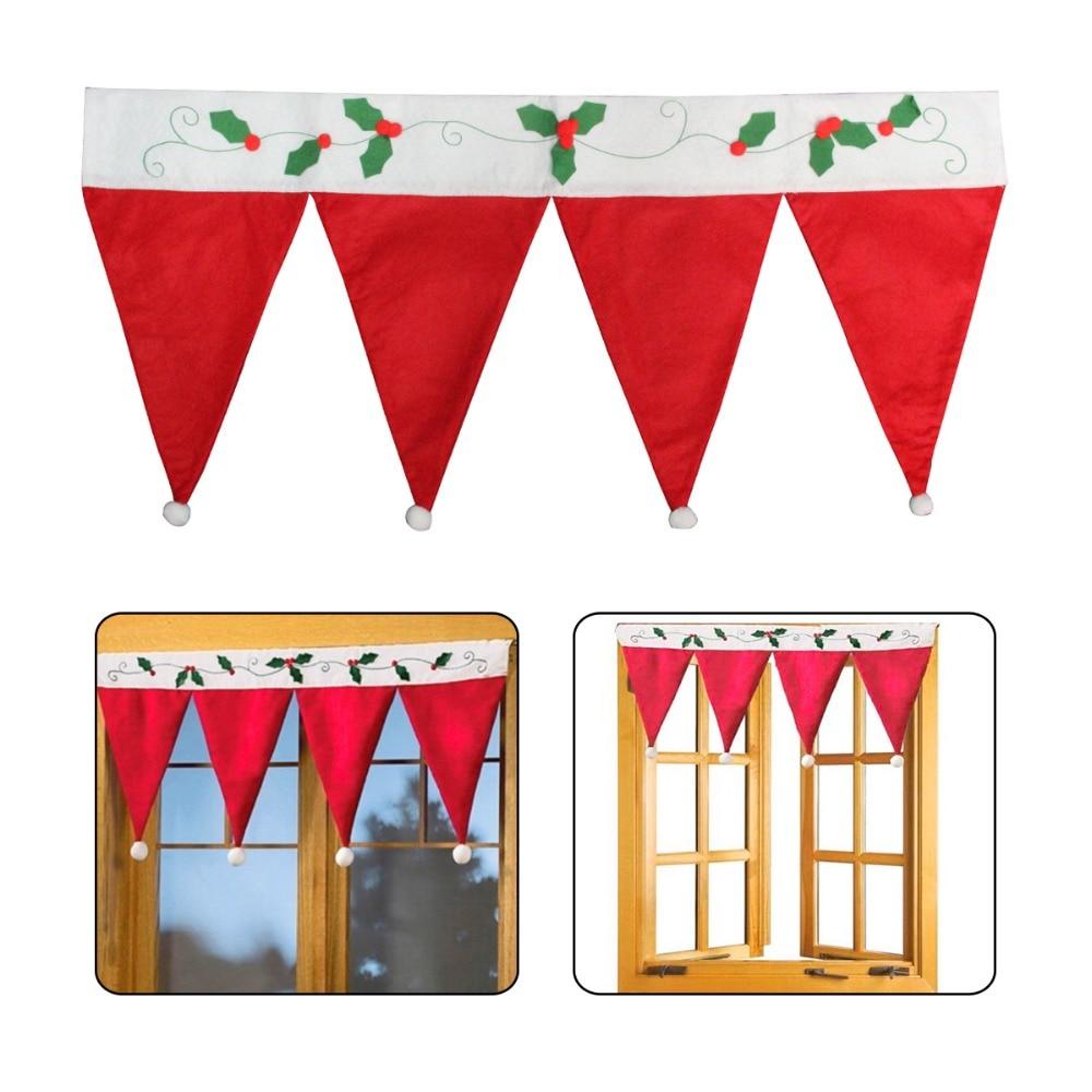 Christmas valances - Christmas Santa Xmas Red Hat Window Valance Curtain Banner Pennant Festivaldecor China Mainland