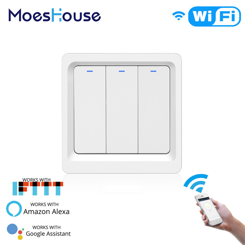 WiFi Smart Light LED Switch Push Button Smart Life Tuya APP Remote Control Works with Alexa Google Home for Voice Control 3 Gang in Switches from Lights Lighting
