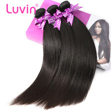 Luvin Malaysian Straight Hair Weaves 3 Bundles Deal Unprocessed 100% Human Remy Hair Extensions Straight Natural Color(China)