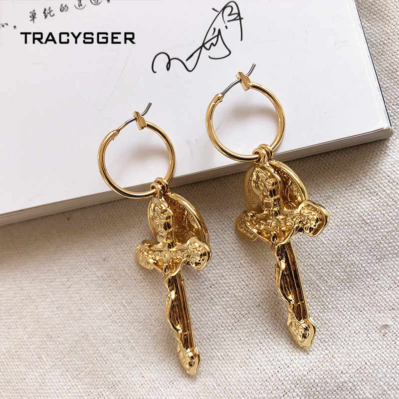 AH-ER84221 /TRACYSGER/ retro Jesus cross  2019 new cool handsome punk hip-hop gold coin small earrings