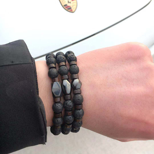 Mcllroy Man bracelets/lava stones/2018/bracelet men handmade stone wood beaded mens bracelets 2018 male jewelry valentine gift