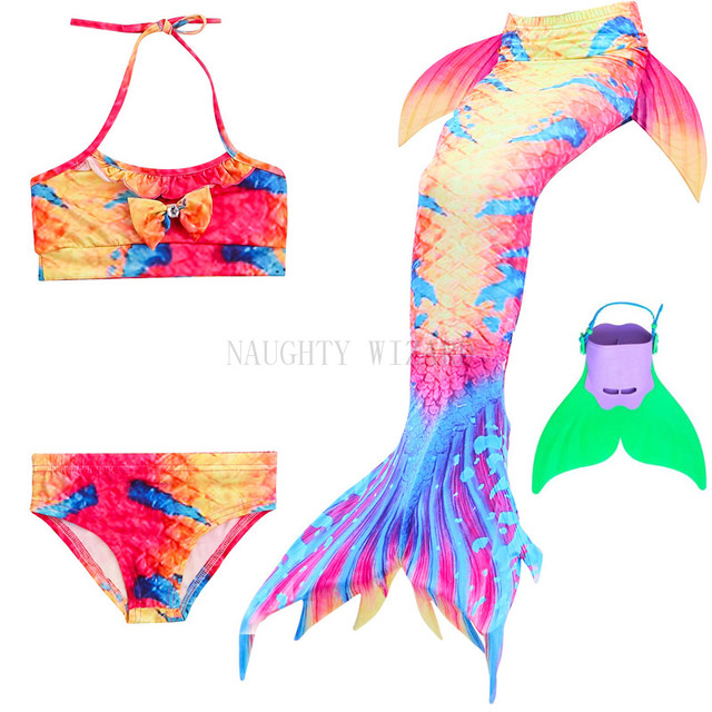 4b1f63b0370a2 NAUGHTY WIZARD Mermaid Tails Cosplay For Girls 3-12 Years Swimmable Mermaid  Tail Swimming Bikini Bathing Suit & Sharkle Monofin