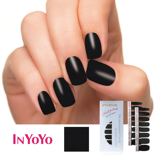 Inyoyo D 028 Nail Polish Strips Black Waterproof Non Toxic Sticker Art