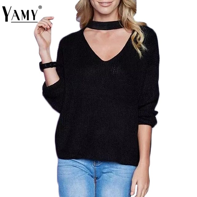 Fashion Halter v-neck Jumpers Sweaters Autumn women new knitted full sleeve pullover loose candy color bayan kazak femme Sweater