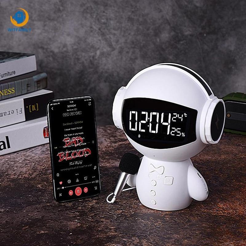 Mignon robot Intelligent sans fil Bluetooth horloge avec Microphone Radio réveil température dislay bureau chambre décorer