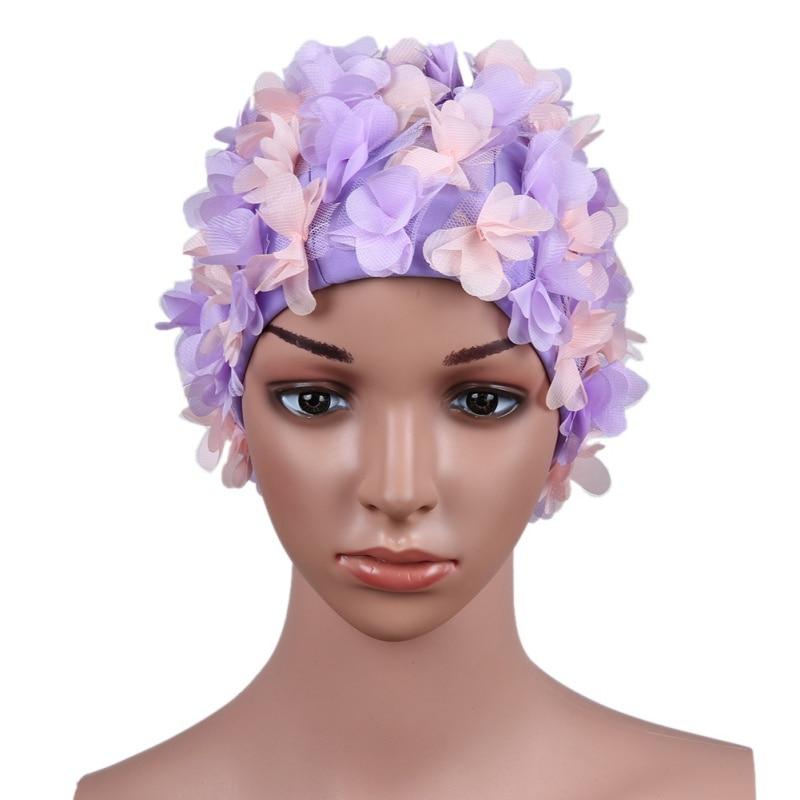 1pcs Women Swim Pool Swimming Cap Three-dimensional flower petals Swimming Hat Bathing Cap