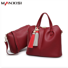 MANXISI Brand Women Top Handle Bags Sets Red Leather Soft Composite Bags Luxury Handbags Women Bags