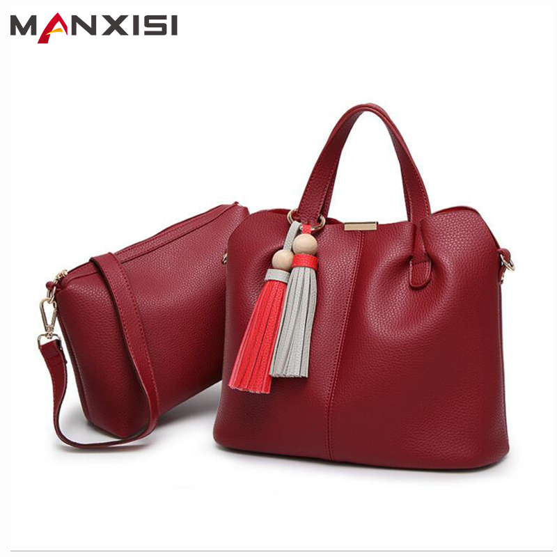 MANXISI Brand Women Top Handle Bags font b Sets b font Red Leather Soft Composite Bags