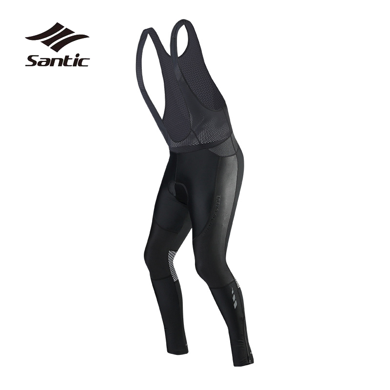 Santic Cycling Pants Men Racing Coolmax Padded Bicycle Long Pants Pro Team Mountain Road Bike Bib Pants Trousers Tights Wear santic cycling bib long high quality tights men coolmax sponge padded sport road mountain bike pants anti pilling bicycle pants