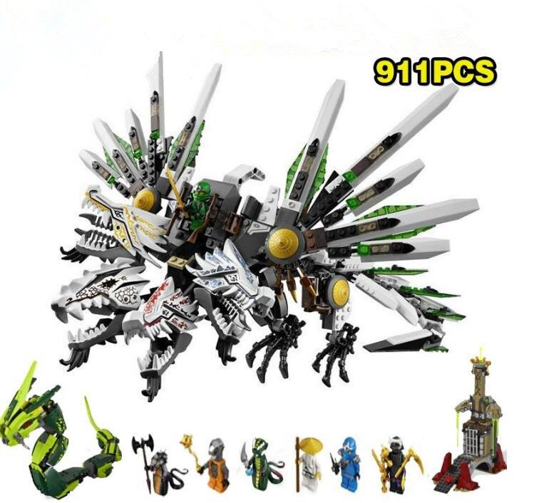 911 pièces Ninja épique Ultra Dragon bataille grand dévoreur serpent Prison modèle blocs de construction jouets briques cadeau pour les enfants