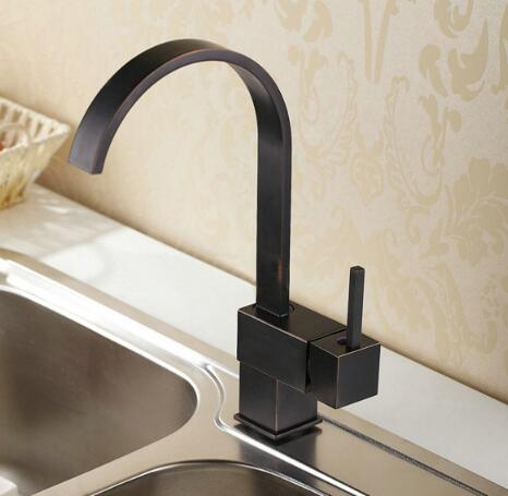 New Arrivals High Quality Brass Black Oil Brushed Square Cold And Hot Bathroom Kitchen Faucet Sink