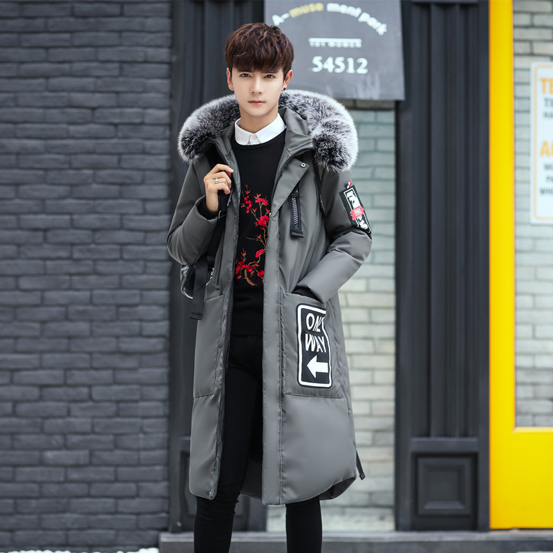 Fashion youth popular style white duck down men 39 s down jacket casual solid color hooded fox big fur collar long cotton jackets in Parkas from Men 39 s Clothing