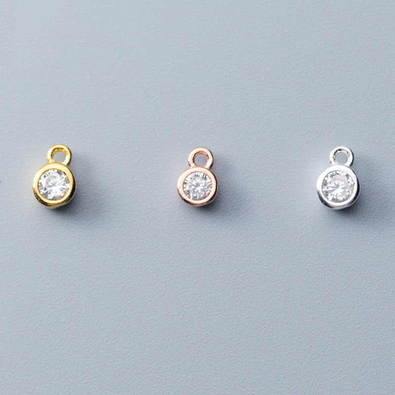 4mm มินิแฟนซี AAA Zircon Charms Gold/Rose Gold 925