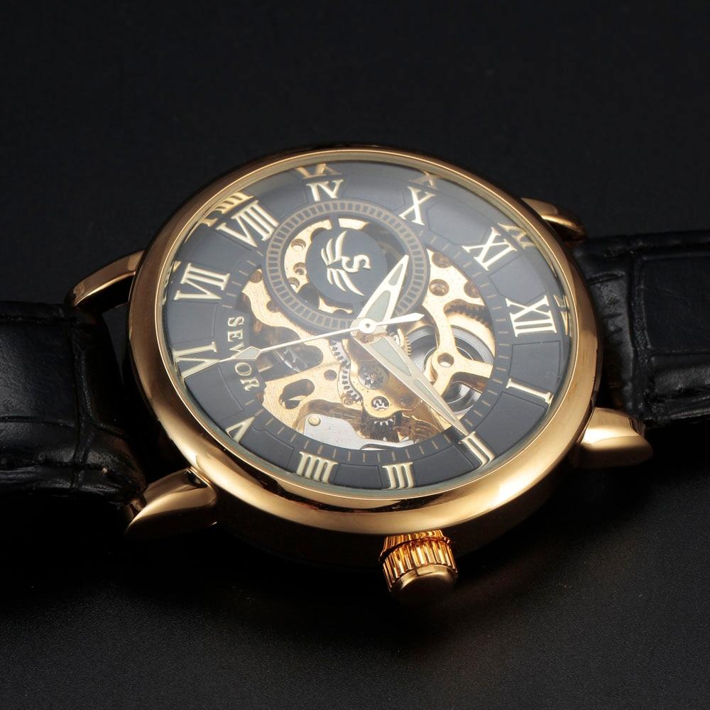 SEWOR 3d лого дизайн куха гравиране черен - Мъжки часовници - Снимка 5