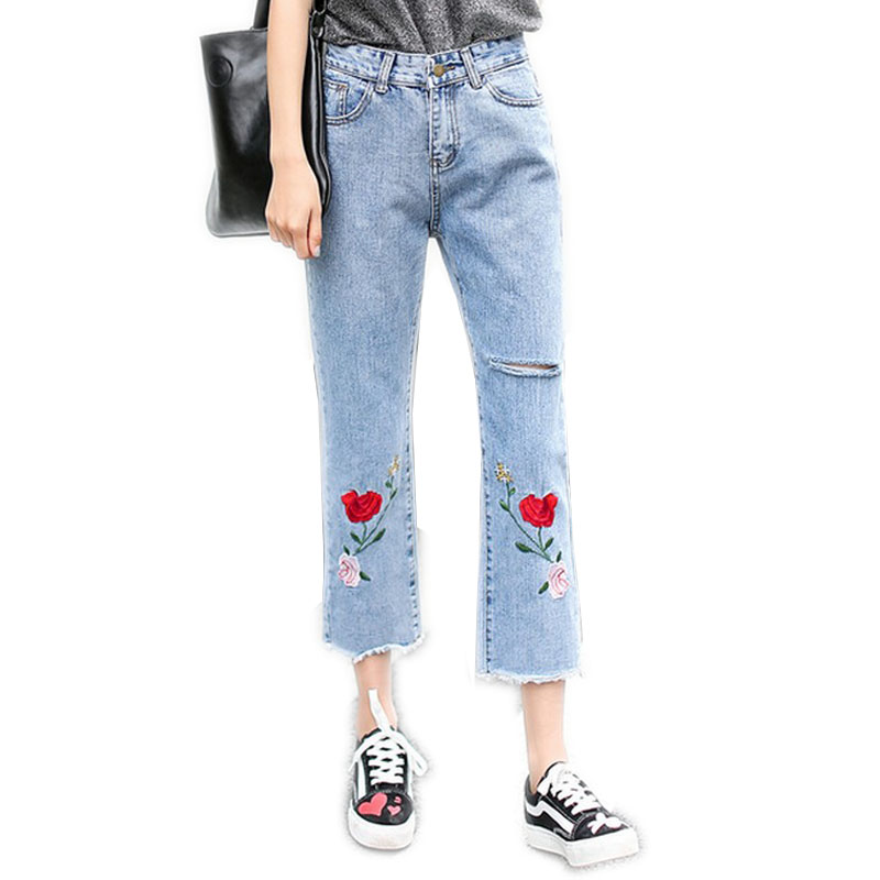 2017 New Jean Boyfriend Femme with Flower Embroidery Jeans for Women Hole Pantalones Vaqueros Mujer Elegant Ladies Denim Pants womens ripped jeans with embroidery summer 2017 ladies straight cotton denim casual pants pantalones vaqueros mujer garemay 2610