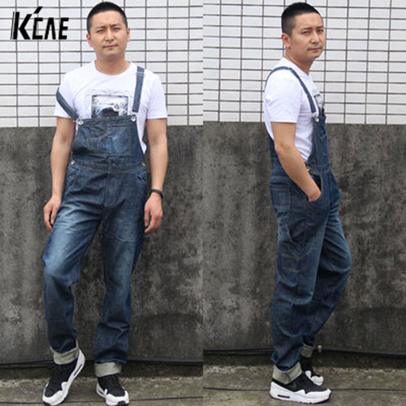 2016 New Brand Men's fashion pocket denim overalls for boys Male casual loose jumpsuits Plus large size XS-4XL jeans Bib pants 2016 new men s casual pocket blue denim overalls slim jumpsuits pants ripped jeans for man plus size 28 34