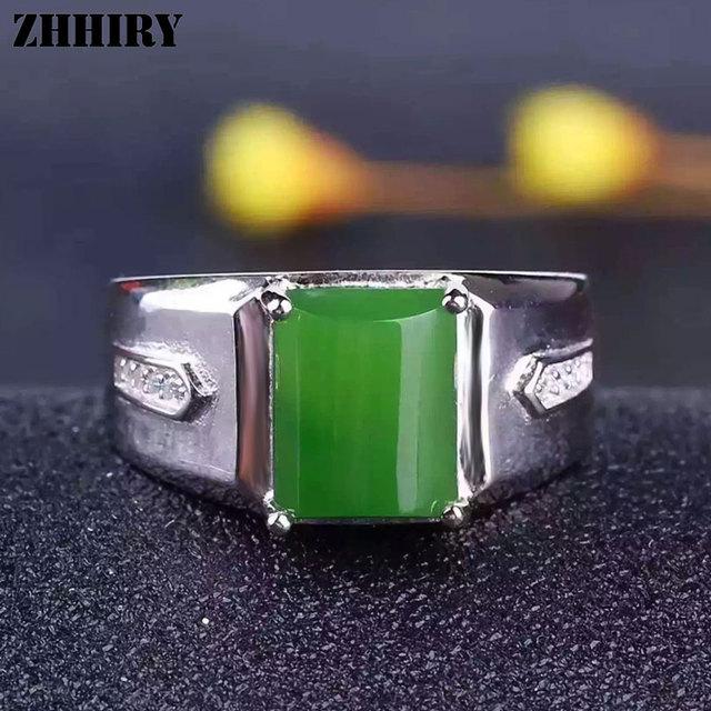 Hombre anillo de Jaspe Natural anillos de piedras preciosas de jade genuino sólido 925 plata esterlina real de los hombres de La Joyería