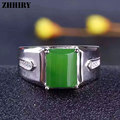Man ring Natural Jasper rings jade gemstone genuine solid 925 sterling silver real men Jewelry