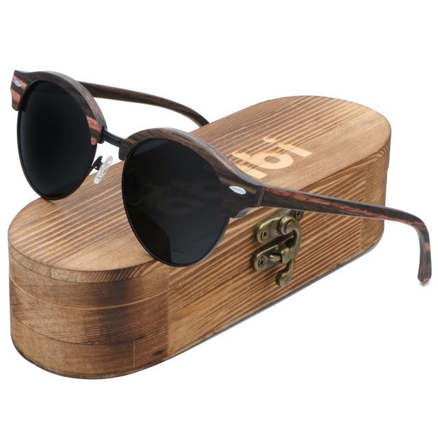 31f988e340d Ablibi Vintage Rimless Mens Polarized Wood Sunglasses for Men   Women with  100% UV Blocking