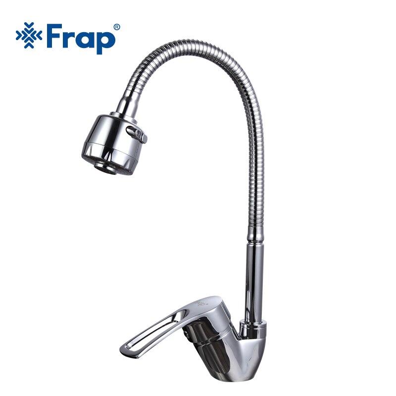 Frap nova chegada torneira da pia cozinha misturador de água fria e quente torneira da cozinha único furo água da liga zinco